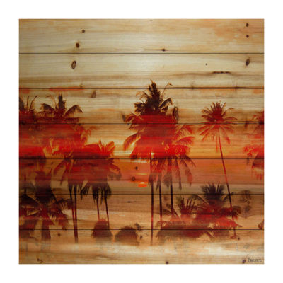 Crimson Palms Painting Print on Natural Pine Wood