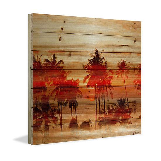 Crimson Palms Painting Print On Natural Pine Wood