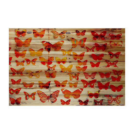 Cheerful Painting Print on Natural Pine Wood