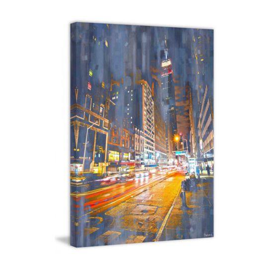 City Lights Painting Print on Wrapped Canvas