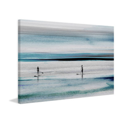 Surfboard Paddling in Blue Waters Painting Print on Wrapped Canvas