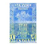 India Postage Painting Print on Wrapped Canvas
