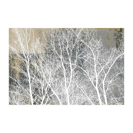 Frosty White Branches Painting Print On Wrapped Canvas