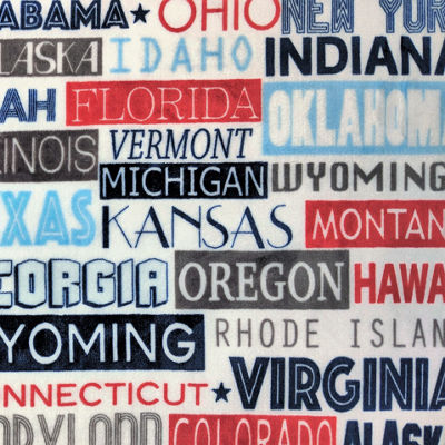 "US States Print (50""X70"") Velvet Plush Throw"