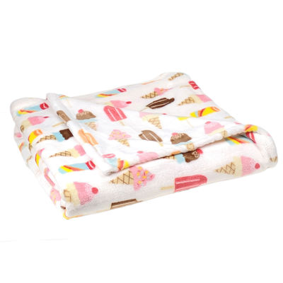 "Ice Cream Treat Print (50""X70"") Velvet Plush Throw"
