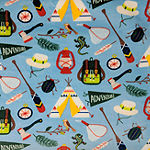 "Camping Print Reversible (50""X60"") Velvet Plush to Sherpa Throw"