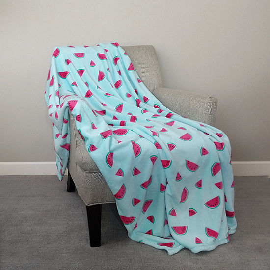 "Watermelon Slices Print (50""X70"") Velvet Plush Throw"