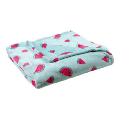 "Watermelon Slices Print (50""X70"") Velvet Plush Throw"