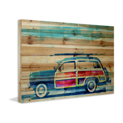 Surf Day Painting Print on Natural Pine Wood