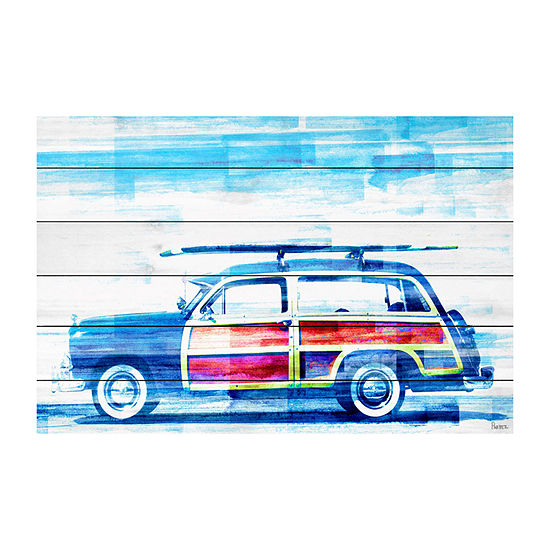 Surf Day Painting Print on White Wood