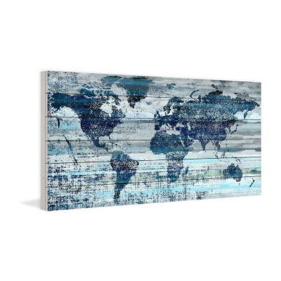 Indigo Countries Painting Print on White Wood