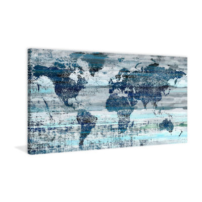 Indigo Countries Painting Print on Wrapped Canvas