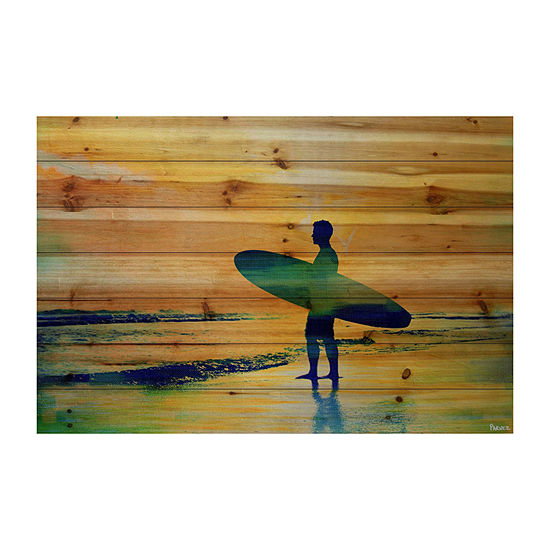 Surf At Dusk Painting Print On Natural Pine Wood
