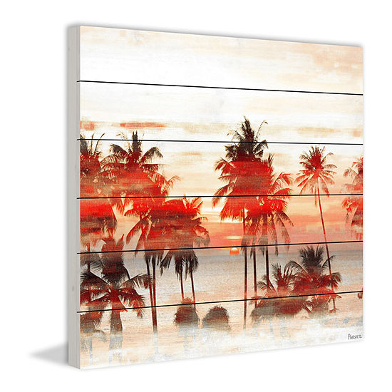 Glowing Red Palms Painting Print on White Wood