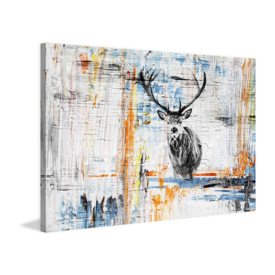 Staring Deer Painting Print On Wrapped Canvas