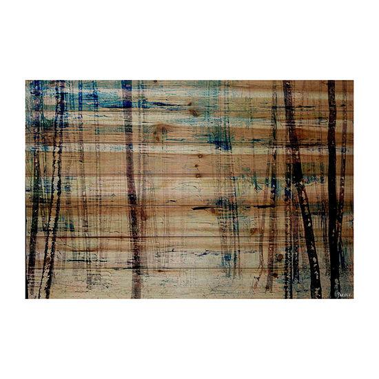 Splash of Blue Sky Painting Print on Natural PineWood