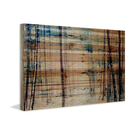 Splash of Blue Sky Painting Print on Natural Pine Wood