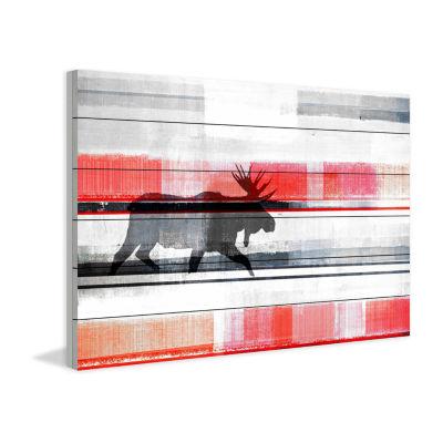 Lone Moose Painting Print on White Wood