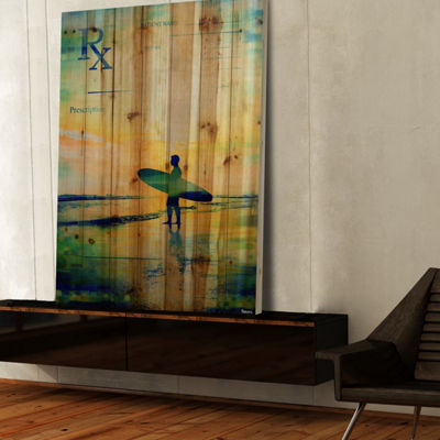RX Surf 2 Painting Print on Natural Pine Wood