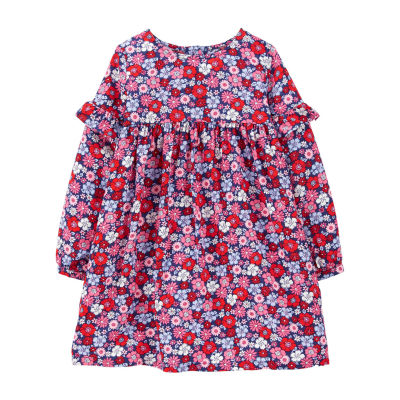 Carter's Toddler Girls Long Sleeve Cuffed Sleeve A-Line Dress