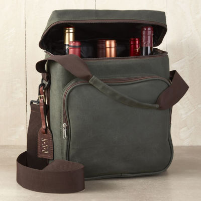 Wine Enthusiast 6-Bottle Waxed Canvas Weekend Wine Bag