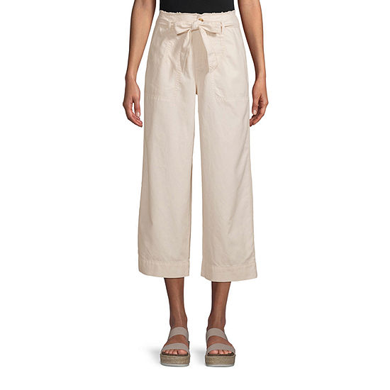 a.n.a-Tall Womens High Rise Waistband Wide Crop Pant