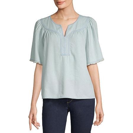 a.n.a Womens Split Crew Neck Short Sleeve Blouse, Small , Blue