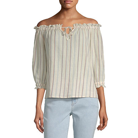 a.n.a Womens Keyhole Neck 3/4 Sleeve Dobby Blouse, Small , Beige