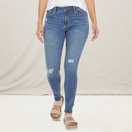 a.n.a Womens Ripped Jegging, 2 Petite , Blue