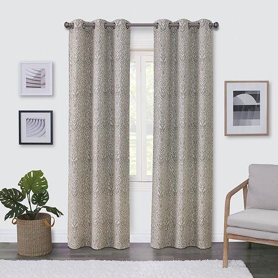 Regal Home Surfaces Ikat Damask Light-Filtering Grommet-Top Single Curtain Panel