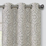 Regal Home Surfaces Ikat Scroll Light-Filtering Grommet-Top Single Curtain Panel