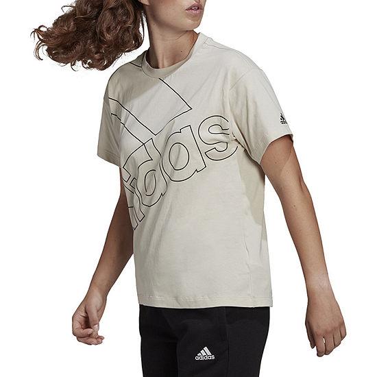 adidas Womens Crew Neck Short Sleeve Graphic T-Shirt