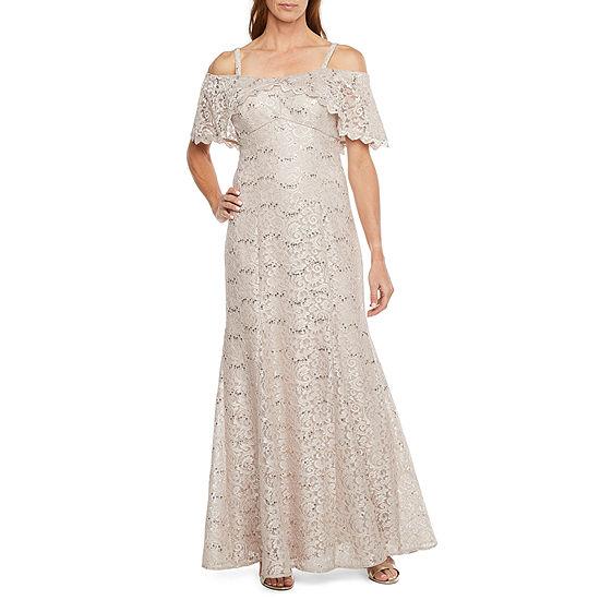 R & M Richards Short Sleeve Evening Gown