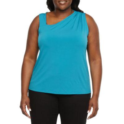 Worthington Plus Womens Asymmetrical Neck Sleeveless Tank Top
