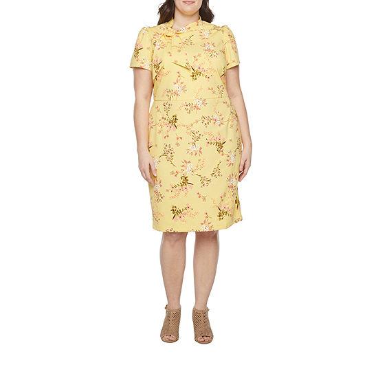 Liz Claiborne-Plus Short Sleeve Sheath Dress
