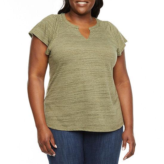 Liz Claiborne-Plus Womens Split Crew Neck Short Sleeve Henley Shirt