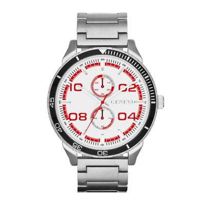 Mens Multifunction-Look Silver-Tone Watch