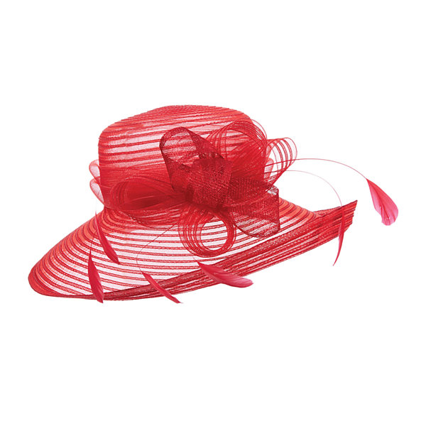 Scala™ Bow and Feather Sinamay Derby Hat
