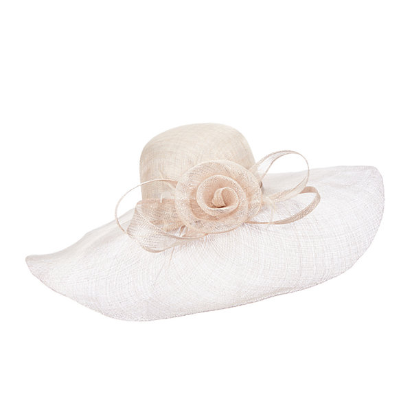 Scala™ Flower and Feathers Straw Sinamay Derby Hat