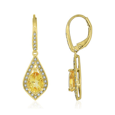 14K Gold Over Silver Genuine Citrine & Lab-Created White Sapphire Drop Earrings