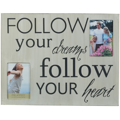 "Melannco® Follow Your Dreams and Heart 2-Opening 4x6"" Collage Picture Frame"