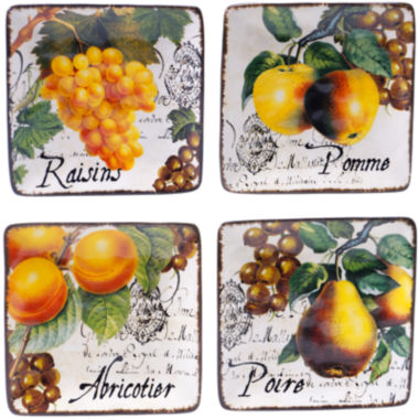 Certified International Botanical Fruit Set of 4 Canapé Plates