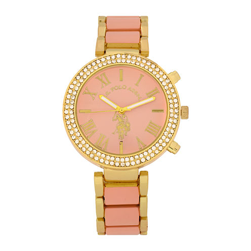U.S. Polo Assn.® Womens Pink & Gold-Tone Stone Bezel Bracelet Watch