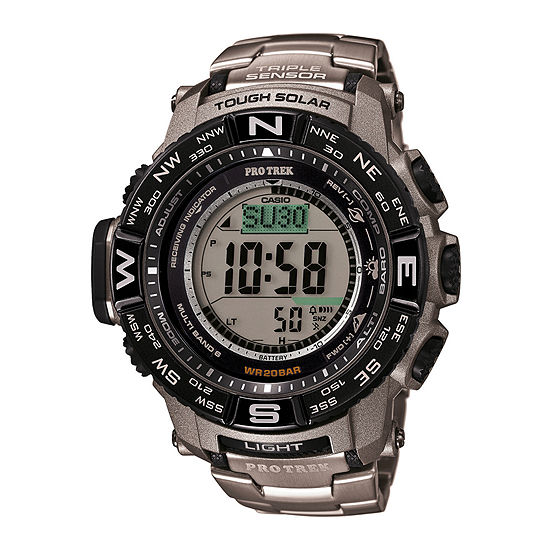 Casio Pro Trek Mens Atomic Time Digital Silver Tone Strap Watch-Prw3500t-7