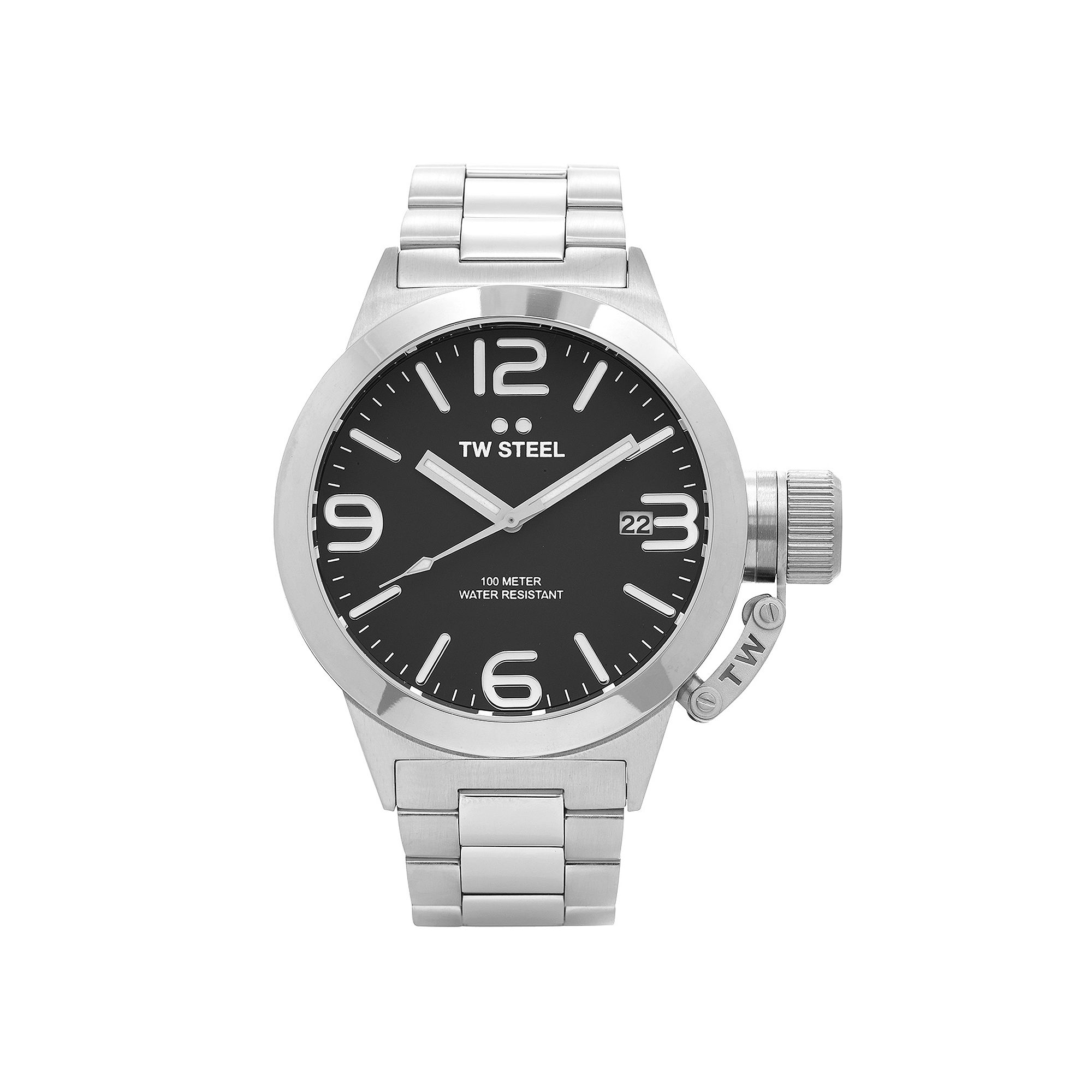 TW Steel Mens Silver Tone and Black Canteen Bracelet Watch