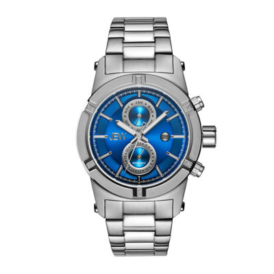 Jbw Mens Silvertone And Blue Dial Diamond Accent Bracelet Watch