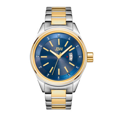 Jbw Mens Two Tone And Blue Dial Diamond Accent Bracelet Watch