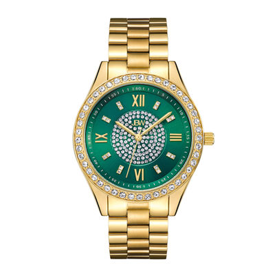 Jbw Womens Goldtone And Green Dial Diamond Accent Bracelet Watch