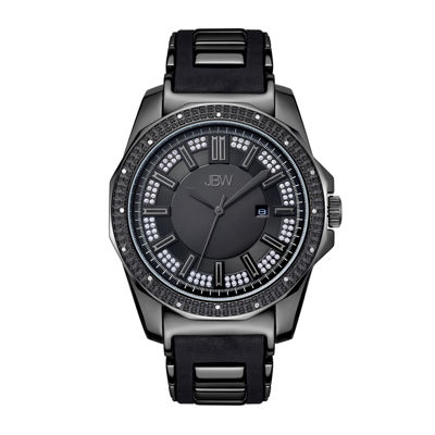 JBW Mens Diamond Accent Black Silicone Strap Watch