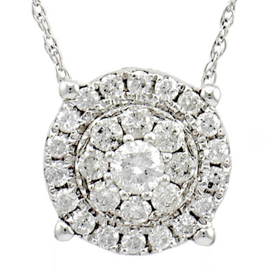 LIMITED QUANTITIES 1/2 CT. Diamond 14K White Gold Pendant Necklace